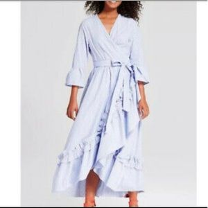 Who what wear blue striped dress wrap style small
